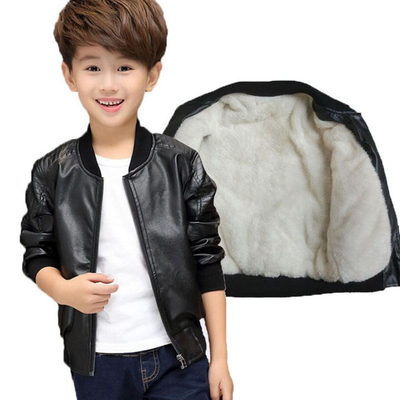 bb583730e 2019 Child leather clothing small kid casual boys jacket black and brown  spring and winter thickening