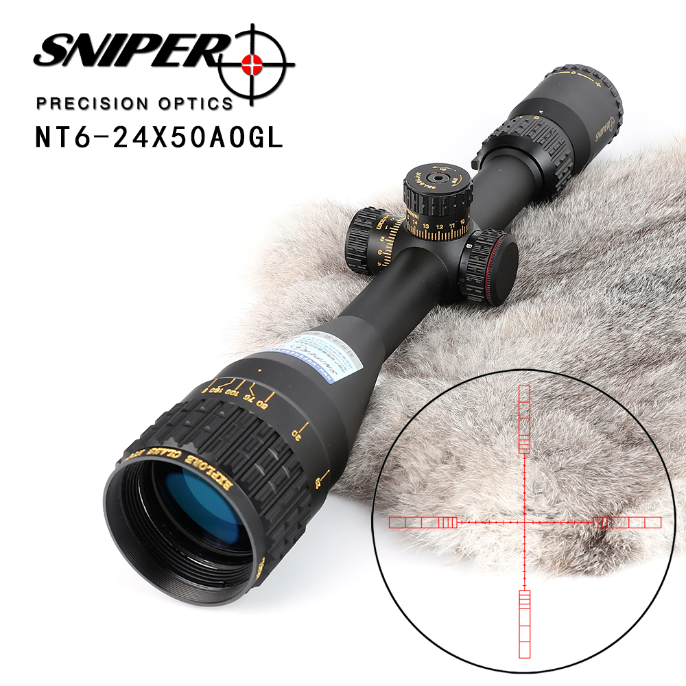 SNIPER NT 6-24X50 AOGL Hunting Riflescopes Tactical Optical Sight Full Size Glass Etched Reticle RGB Illuminated Rifle Scope