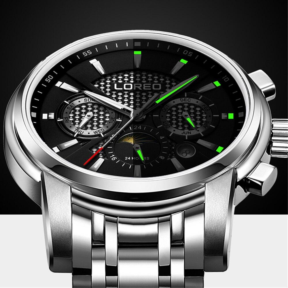 Reloj mecánico automático multifunción para hombre, reloj de negocios de marca superior, reloj deportivo, caja de acero inoxidable-in Relojes mecánicos from Relojes de pulsera    1