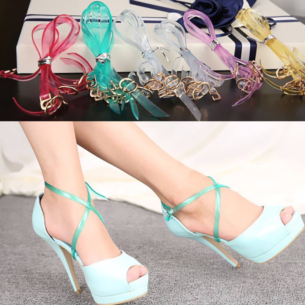 1 Pair Transparent High Heeled Flat Shoe Safety Clips Bands Strap Locking Shoe Silicone Shoelace Invisible Shoe Lace