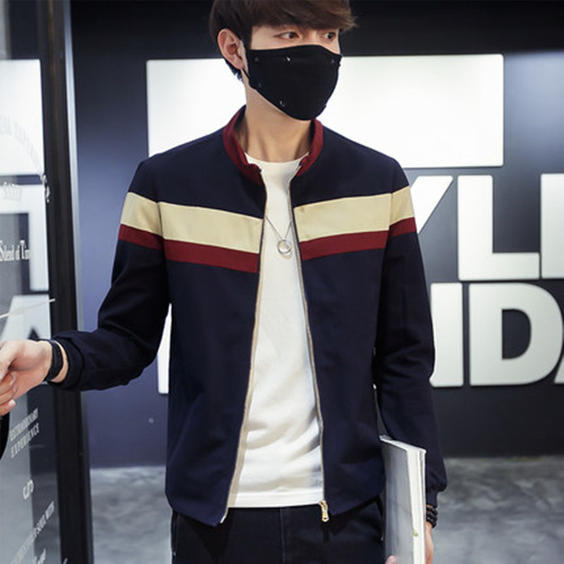 2018 Men Spring Patchwork Jackets and Coats Strip Jaqueta Masculina Male Casual Fashion Slim Fitted Zipper