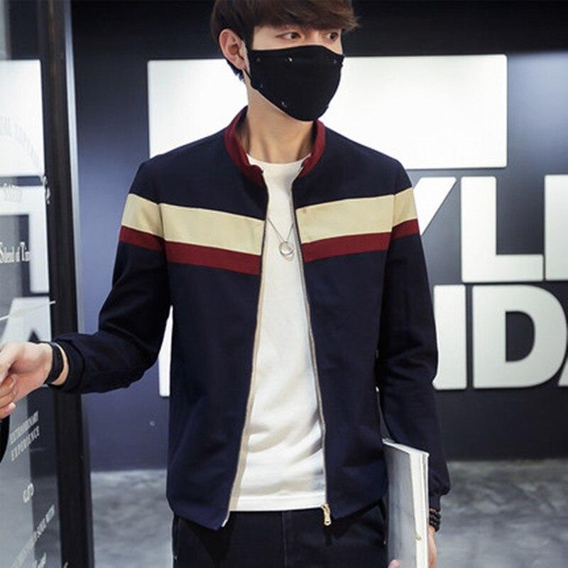 2018 männer Frühling Patchwork Jacken und Mäntel Streifen Jaqueta Masculina Männlichen Casual Mode Schmal Geschnittene Zipper Jacken Hombre