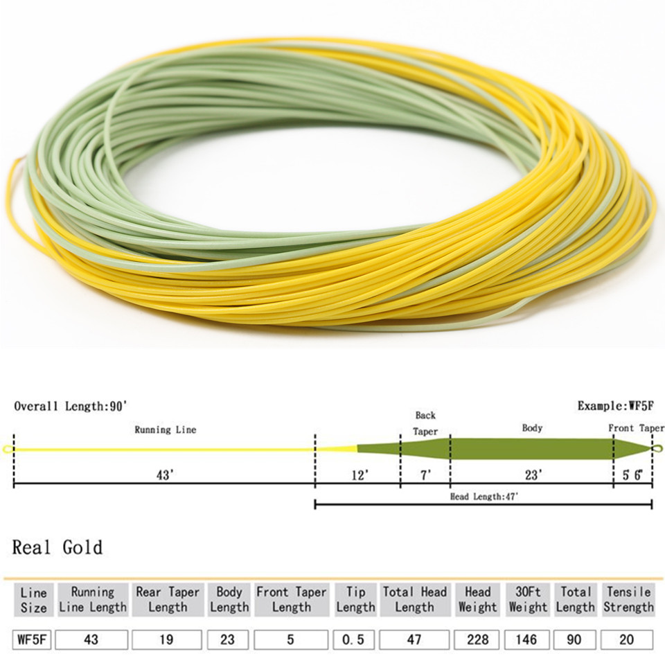 Maximumcatch 100 FT Smooth Casting Fly Fishing Line 2wt-9wt Weight Forward Floating Fly  ...