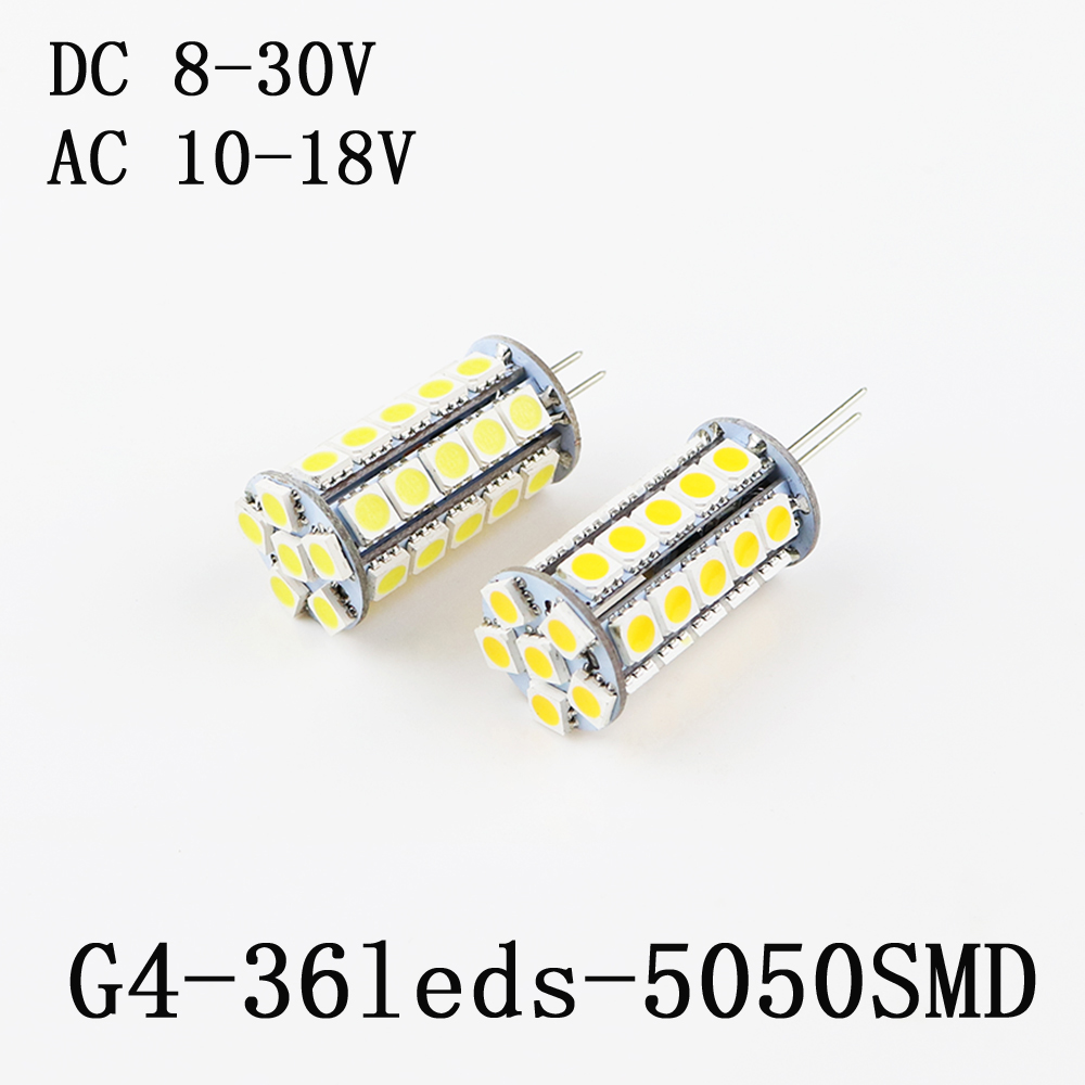 Led Light Bulb Chandelier G4 SMD 5050 36 Leds 12V/24V DC8-30V/AC10-18V Replace Kitchen Home Light Halogen Lamp 10Pcs/Lot
