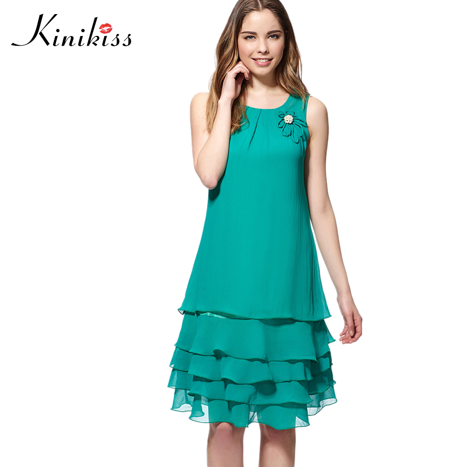 Kinikiss women casual dress 2017 spring green sleeveless layered ...