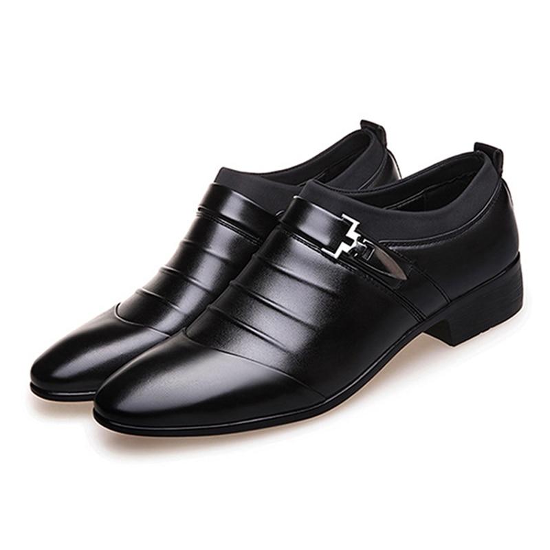 Qualité Plus La Slip 38 Haute Taille on 45 Chaussures Bout Robe Black 915497 Hommes Mens brown Pour D'affaires Plat Mariage De Pointu xFgpqBn