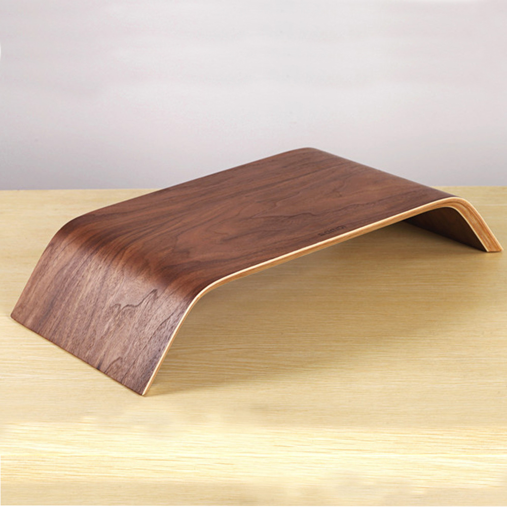 SAMDI - Laptop Walnut Wood Stand Wooden Notebook Desktop Holder PC Display Riser Bracket Stand for Apple iMac Macbook Computer ...