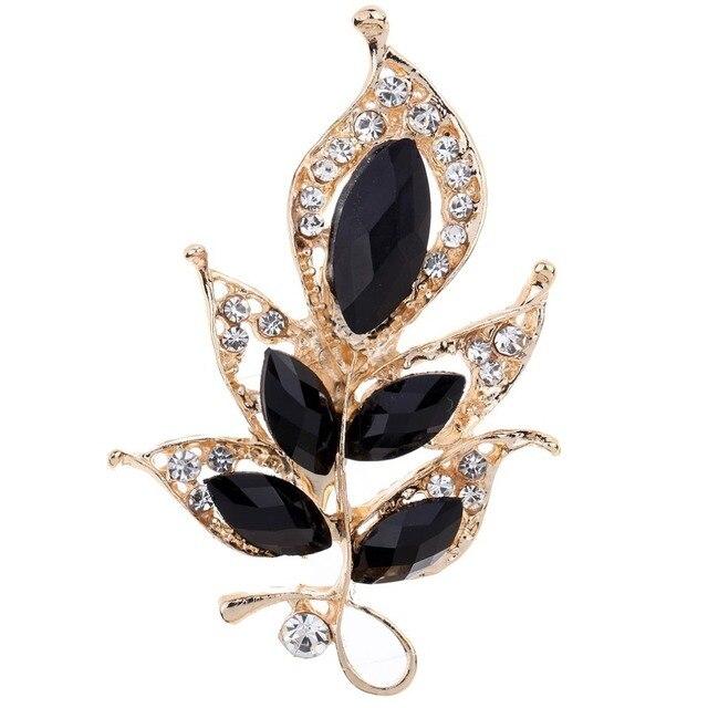 Мода Прекрасный Черный Цветок Позолоченные Вырезать Сияющий Кристалл Брошь Свадьба Подарок