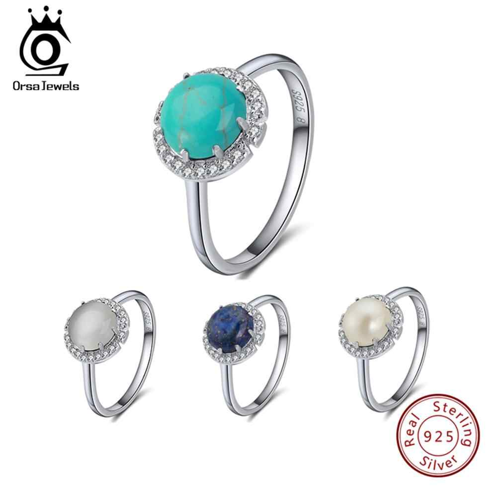 ORSA JEWELS Genuine 925 Sterling Silver Rings For Female Turquoises Pave Setting AAA Cubic Zircon Women Ring Trendy Jewelry SR55