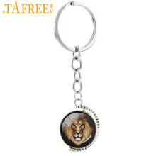 TAFREE Double Sides The Keychain Vintage Animal Male Buck Deer Hippo Tiger Donkey Wolf Key Chain Ring Men Jewelry T717(China)