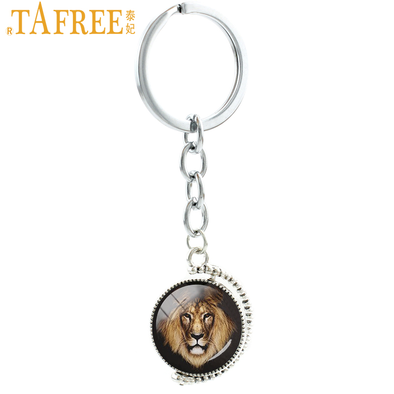 ①TAFREE lados dobles el león llavero Vintage Animal León masculino ...