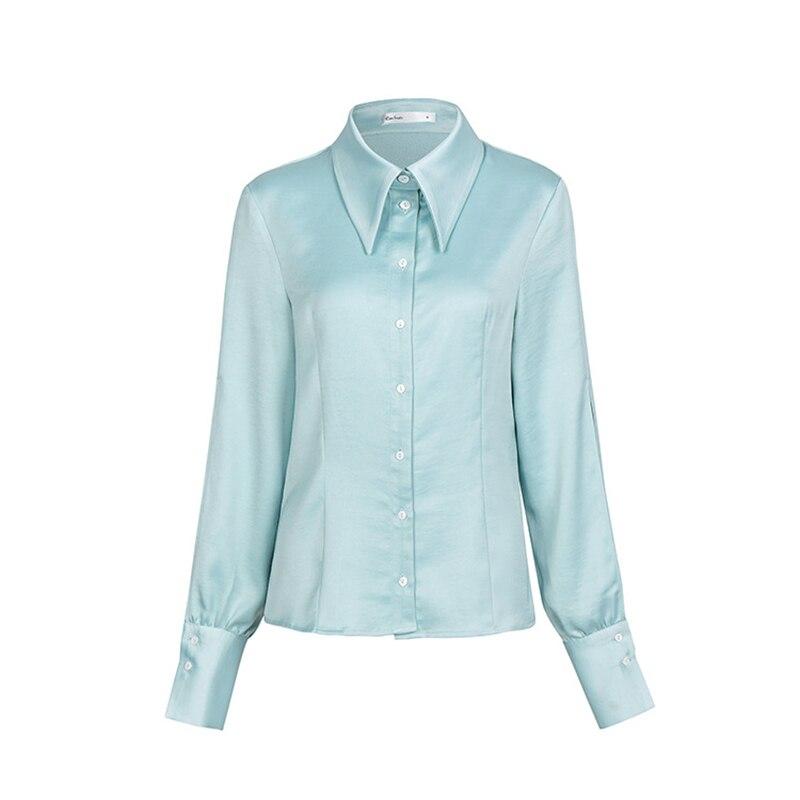 Chemise Nouvelle Lanterne Printemps Mode Taille Bleu Blue Chemisier Base 2018 Femmes Revers Col Tops De Vintage Manches Twotwinstyle Femelle Grande X80PwnkO