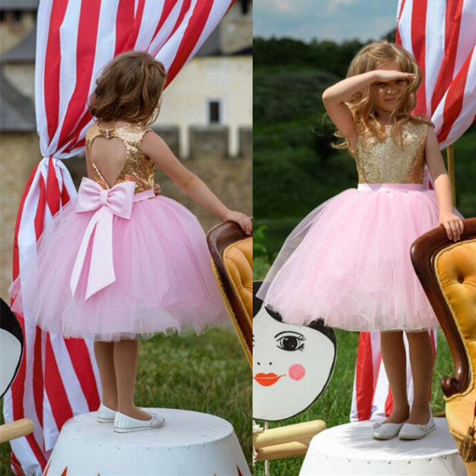 Sparkly Ball gown pink tulle golden sequins top flower girl dresses keyhole back for Christmas baby kids birthday party gowns