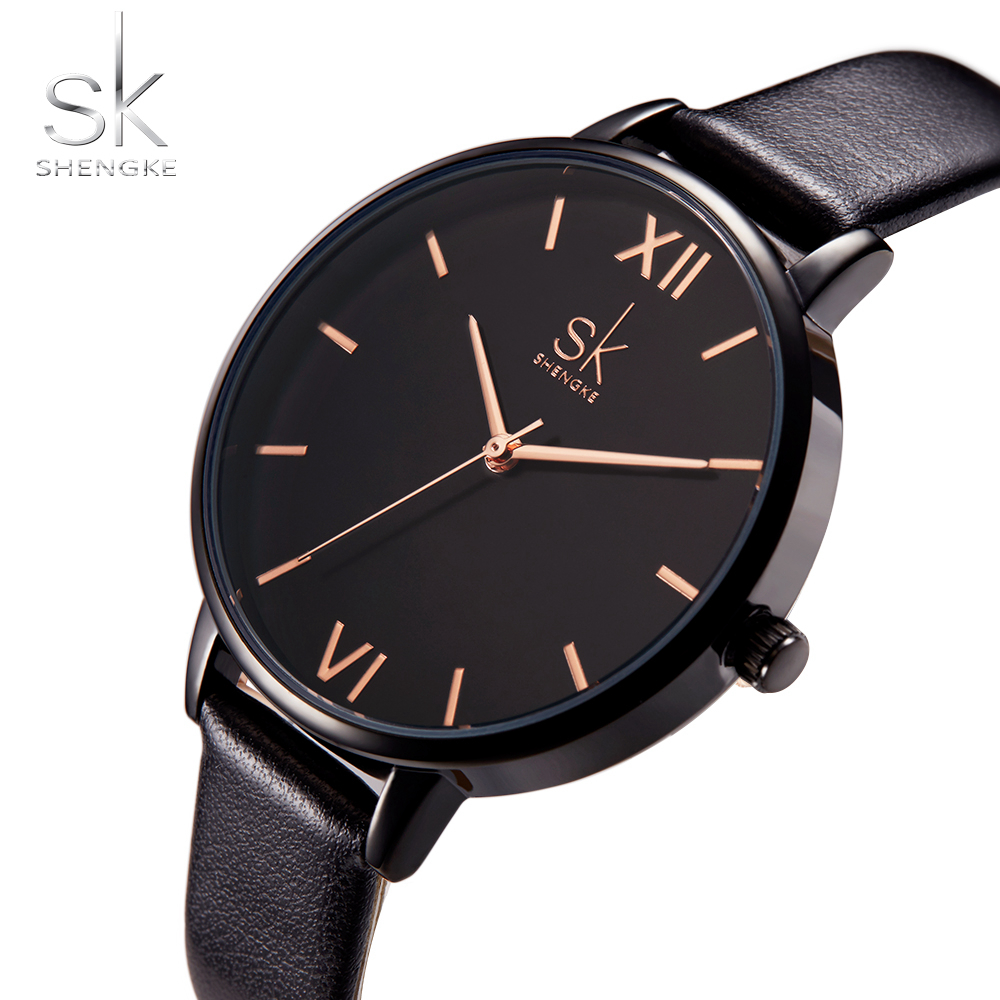 Shengke Women Watches Causal Women Leather Watch Mixmatch Ladies Watch Black Leather Strap Wristwatch 4 Colors Montre Femme SK 5