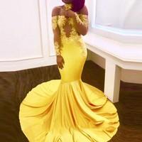 Vestidos De Festa Custom Made Yellow Evening Dress Mermaid abendkleider Evening Dresses Long Sleeves Choker 2018 vestido longo