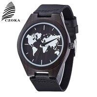 CZOKA Map Design Quartz Watch Relojes Para Mujer Wrist Watch Leather Clocks Reloj Mujer Relogio Feminino Ladies Women's Watches