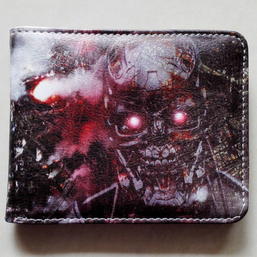 2018 Movie The Terminator T850 Skull Logo wallets Purse Multi-Color 12 cm Leather W211 2018 movie the terminator t850 skull logo wallets purse multi color 12 cm leather w211