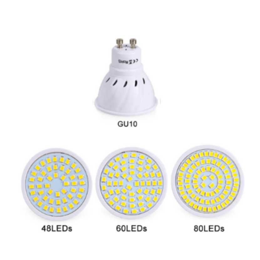 10 Pcs GU10 LED Lamp 220V 240V LED Bulb LED Spotlight Bulb Lampada 48/60/80LEDs SMD 2835 For Indoor Home Spot Light