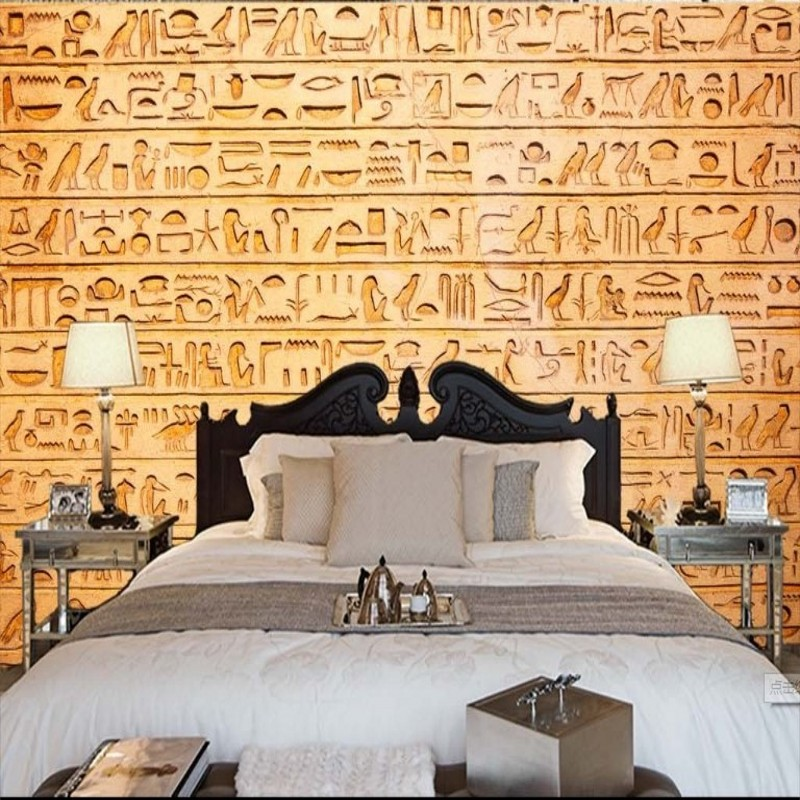 beibehang 3D stereoscopic large mural wallpaper mural Egyptian reliefs of animals and birds living room TV backdrop large yellow marble texture design wallpaper mural painting living room bedroom wallpaper tv backdrop stereoscopic wallpaper