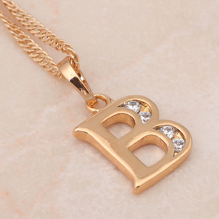 26 Letters Letter B Style Designer Wholesale K Gold Plated Crystal Necklaces Pendants Fashion Jewelry LN134 In Pendant From