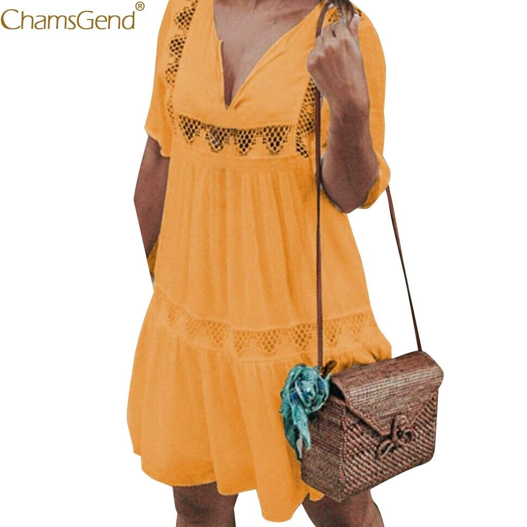 Bohemian V Neck Summer dress women plus size summer dresses casual dresses woman party night 2019 Beach Holiday Hollow Mar