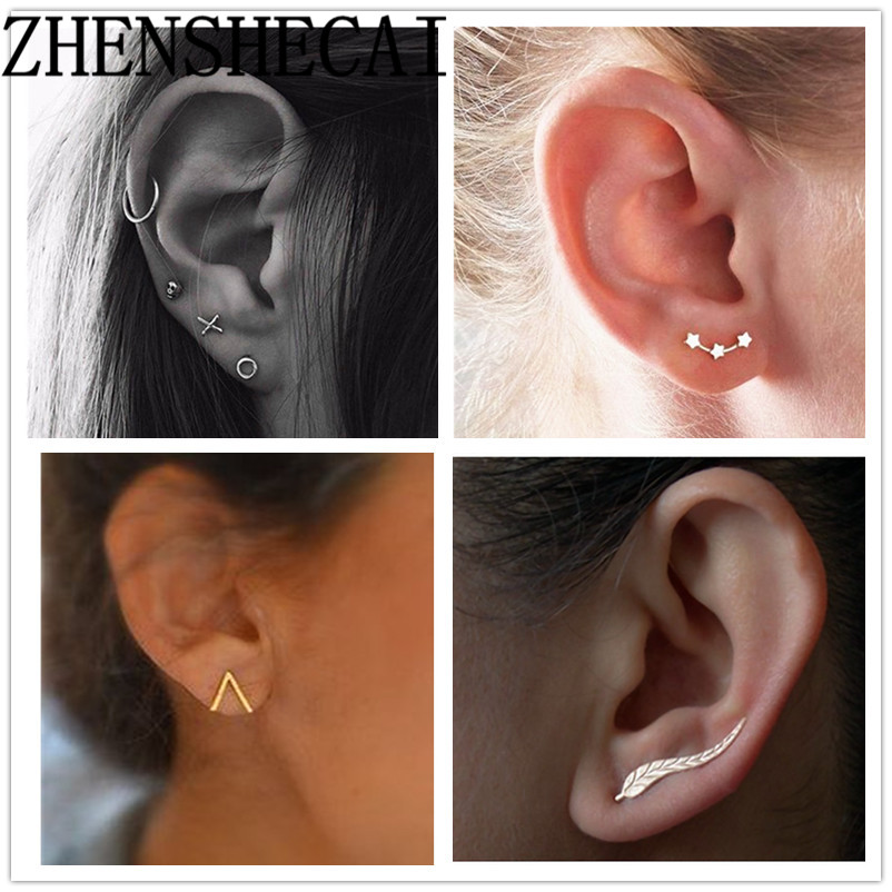 New Fashion Leaf Stud Earrings For Women Femme Leaves Simpe Vintage Jewelry e071zu