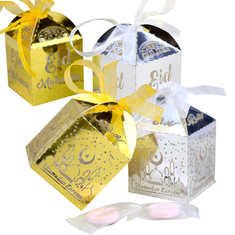 20pcs Eid Mubarak Dragee Candy Gift Box Ramadan Decorations Islamic Party Diy Decor Cardboard Dragee Box Packaging With Ribbon Event & Party