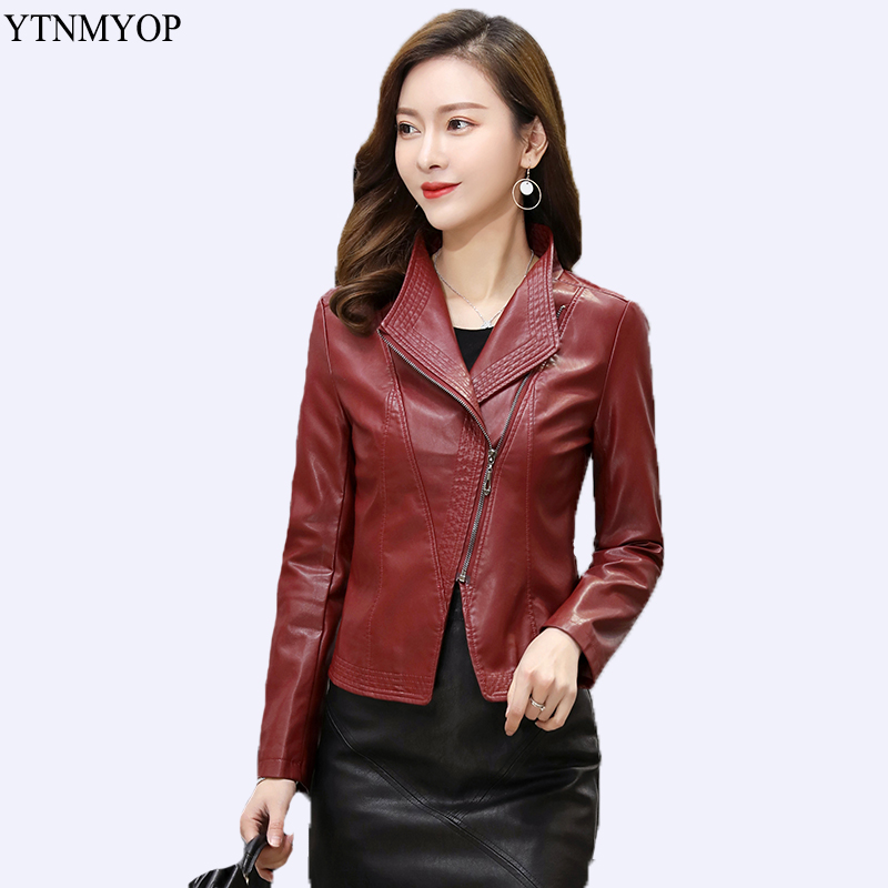 YTNMYOP Plus Size 5XL Women Leather Jacket Long Sleeve Spring And Autumn Clothing Office Lady Leather