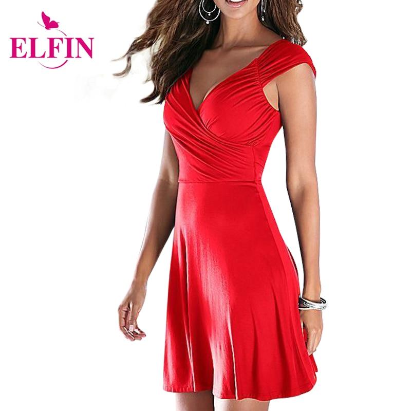 Fashion Women Dress Cap Sleeve Backless V Neck Sexy Dress Slim Party Dress Pleated Empire Waist A Line Party Dress Solid LJ4865R