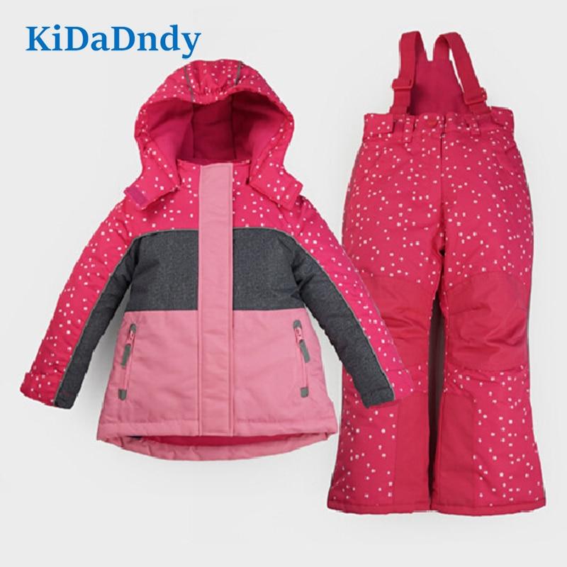 Коллекция 2017 года, комплекты одежды для девочек, лыжный костюм для детей, непромокаемый хлопок, весна зима, новый детский теплый и толстый пу