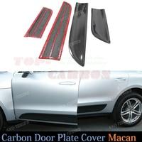 4pcs Set Door Plate Cover Trim For Porsche Macan 2014 2015 Carbon Fiber