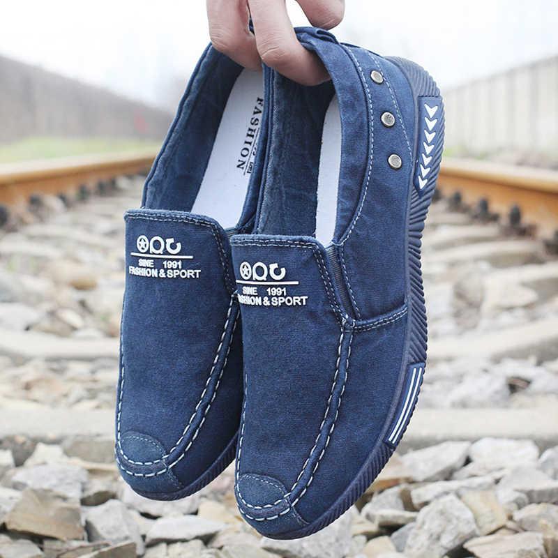 Модная мужская обувь из джинсовой ткани мужская холщовая Обувь Кеды мужские слипоны Повседневная парусиновая обувь Лоферы chaussure homme Zapatos De Hombre