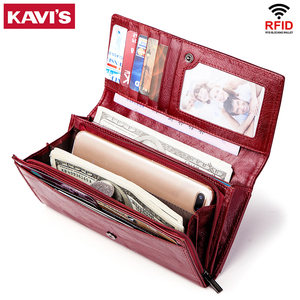 Image 4 - KAVIS Genuine Leather Women Wallet and Purse Female Coin Purse Portomonee Clamp For Money Bag Zipper Card Holder Handy Perse