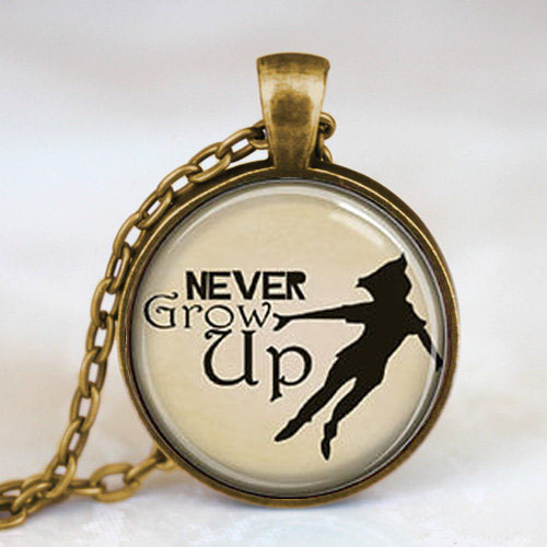 Steampunk US Movie Never Grow Up Peter Pan Quote Pendant Necklace glass 1pcs/lot womens fashion jewelry dr who chain toy cosplay