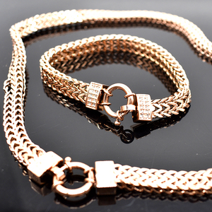 Image 5 - AMUMIU 2020 new arrival Men Chain Necklace Bracelet Sets Special Lock Stainless Steel Snake Women gold Color Jewellery HZTZ125