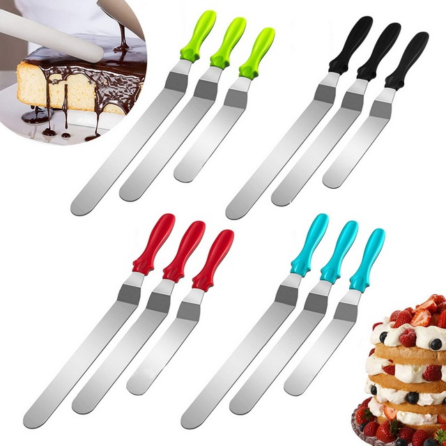 Hifuar 3pcs/set Pastry Cake Decoration Tools Stainless Steel Cake Spatula Butter Cream Icing Frosting Knife Smoother Kitchen