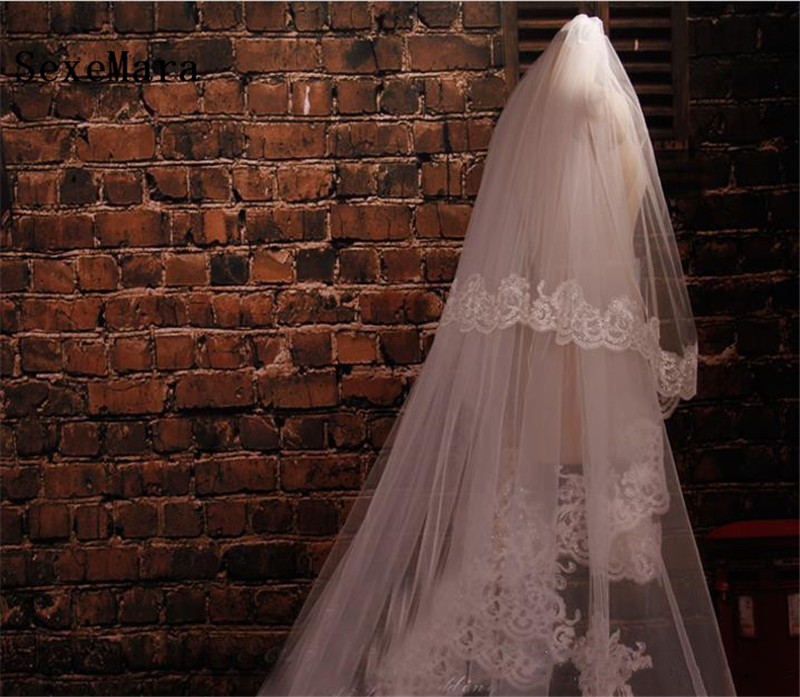 New White/Ivory Wedding Veil Two-Layers Cathedral Length Netting Lace Appliques Bridal Veils With Comb Custom Made