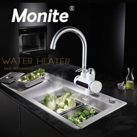 RU Electric Hot Faucet Water Heater Electric Water Heating Tankless Kitchen Faucet Digital Display Instant Water