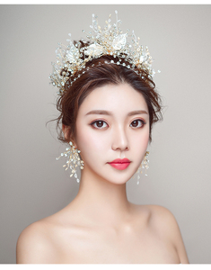 Image 5 - HIMSTORY European Gold Brides Tiaras Crowns Handmade Leaf Crystal Headpieces Wedding Headbands Accessory Holiday Hair Jewelry