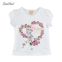 2017 fashion summer children brand domeiland clothing for kids girl print Flowers cotton short sleeve t