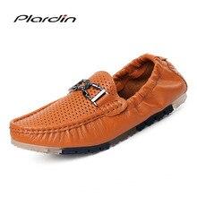 Plardin/Новая Всесезонная модная Повседневное Разделение удобные кожаные Вышивание вырезами мягкие низкая обувь с обшивкой мужские кожаные туфли