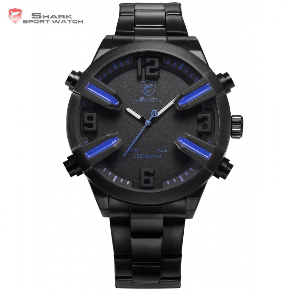 dogfish shark sport watch blue auto date day alarm led. Black Bedroom Furniture Sets. Home Design Ideas
