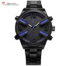 Aiguillat shark sport montre bleu auto date jour alarme led en acier inoxydable bande relogio masculino numérique mens quartz montres/sh321