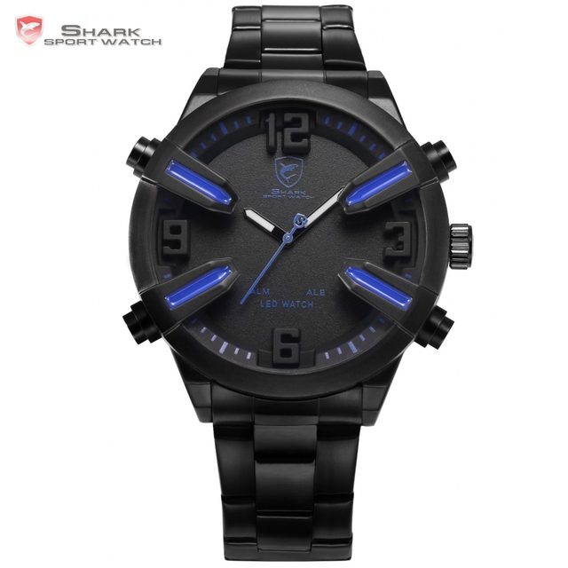 Dogfish Shark Sport Watch Blue Auto Date Day Alarm LED Stainless Steel Band relogio masculino Digital Mens Quartz Watches /SH321