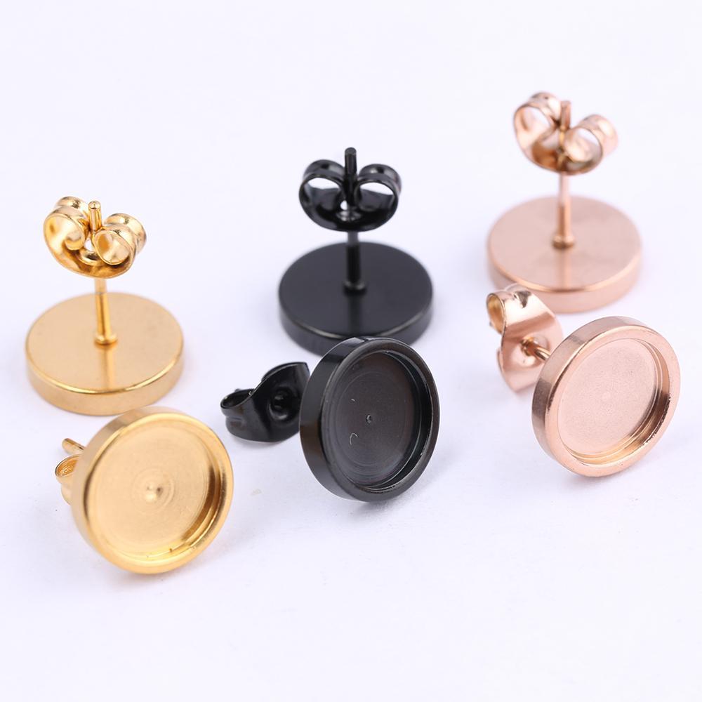 Onwear 10pcs Rose Gold Black Stainless Steel Stud Earring Base 8mm Cabochon Bezel Settings Diy Post Pin Earrings Findings