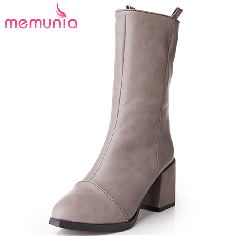 MEMUNIA PU soft leather ankle boots fashion high heels shoes pointed toe solid womens boots spring autumn big size 34-43 memunia 2017 fashion flock spring autumn single shoes women flats shoes solid pointed toe college style big size 34 47