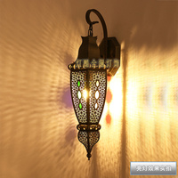 copper American retro wall lamp Southeast Asian hollowed out designer sample Art lighting hall lamps wall light ZA423450