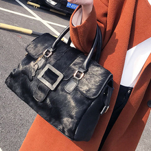 Women Natural Horsehair Handbag Genuine Leather Boston Satchel Bag Crossbody