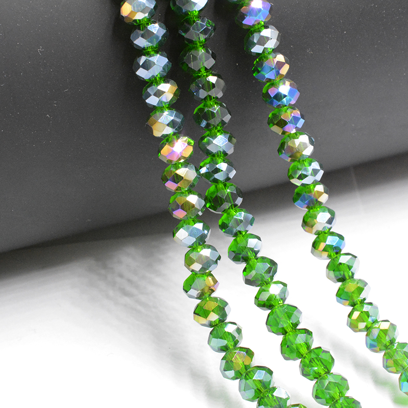 Deep Green AB Colors 3*4mm 145pcs Rondelle Austria faceted Crystal Glass Beads Loose Spacer Round Beads for Jewelry Making
