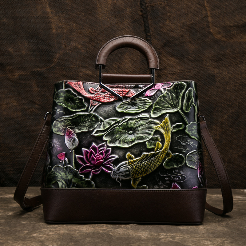 High Quality Natural Skin Women Top Handle Bag Fish Pattern National Style Female Messenger Tote Shoulder Genuine Leather BagsHigh Quality Natural Skin Women Top Handle Bag Fish Pattern National Style Female Messenger Tote Shoulder Genuine Leather Bags